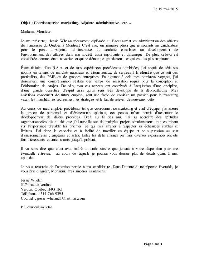 curriculum vitae lettre de pr u00e9sentation