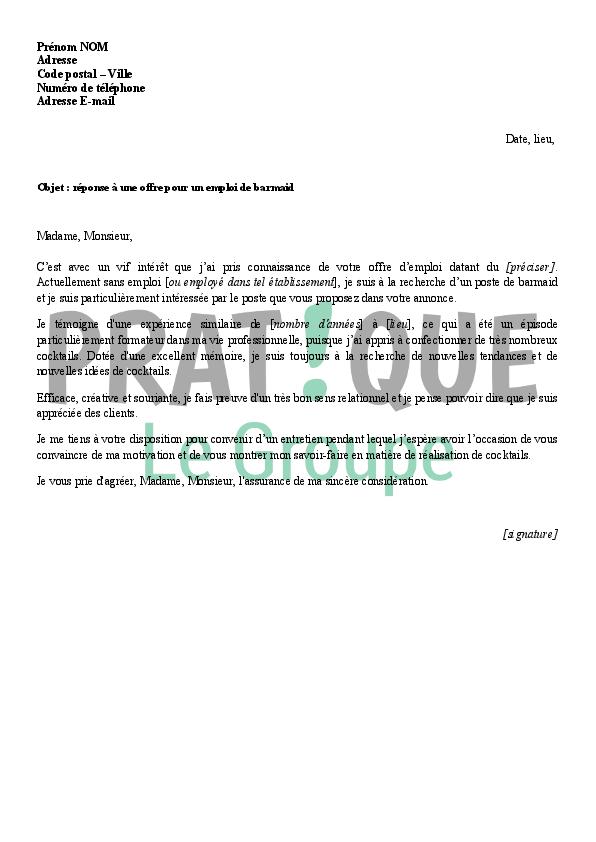 lettre de motivation pour r u00e9pondre  u00e0 une offre d emploi
