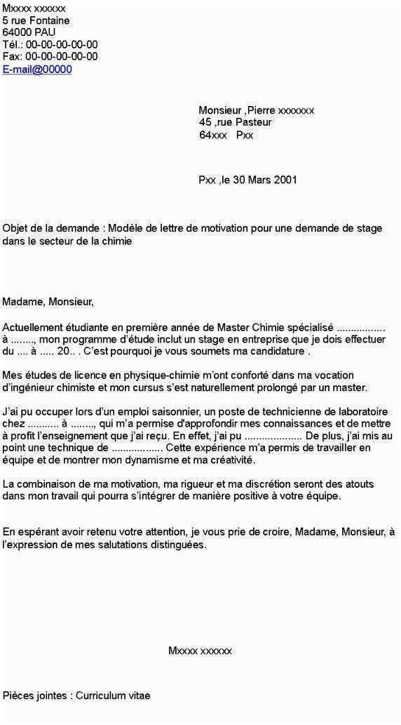 lettre de motivation stage premiere