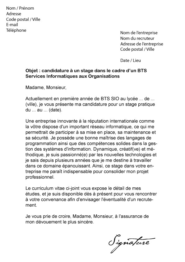 lettre de motivation stage 1ere ann u00e9e bts muc