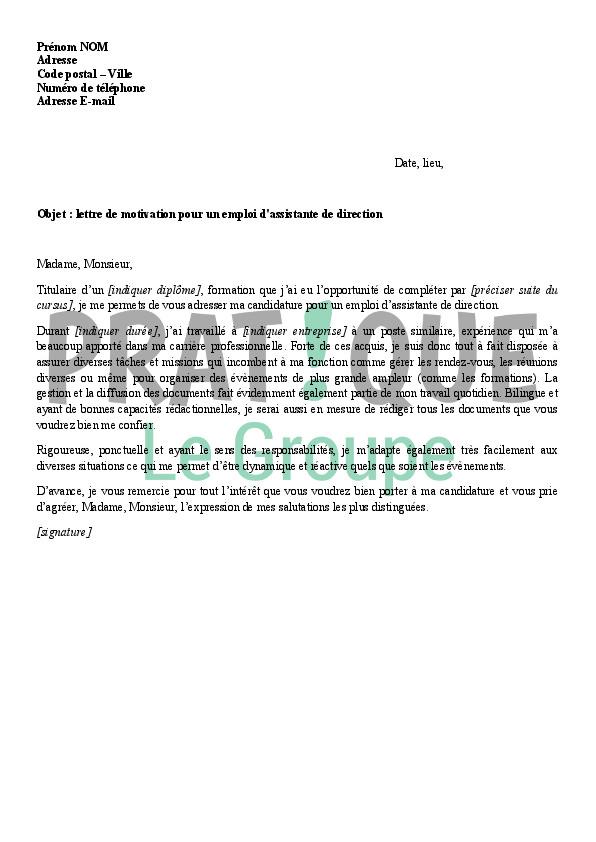 lettre de motivation directeur adjoint ehpad