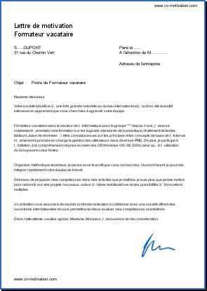 Exemple lettre de motivation formateur