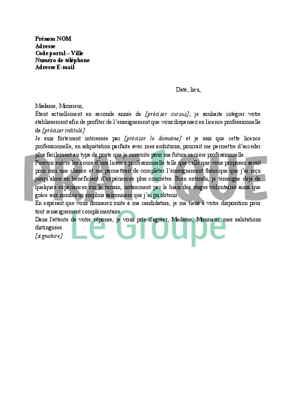 mod u00e8le lettre de motivation alternance licence pro