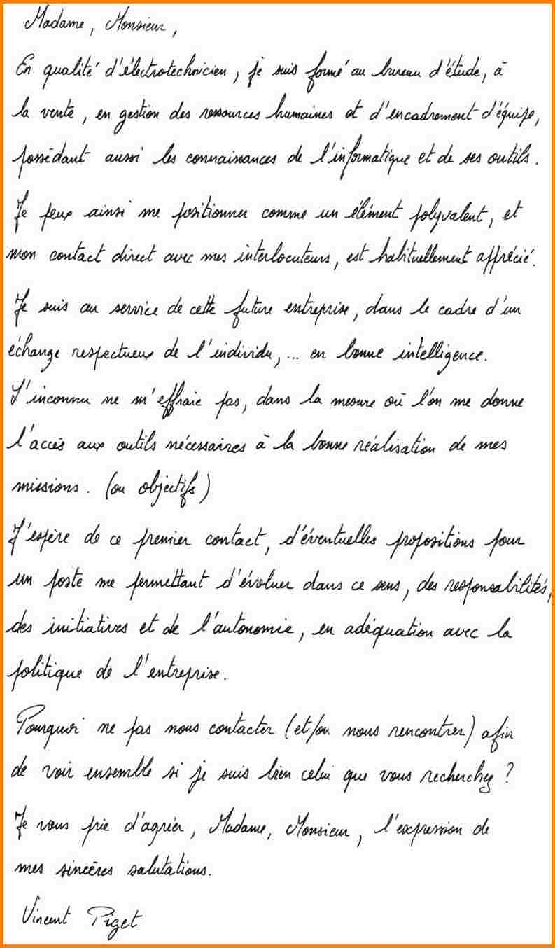 lettre de motivation manuscrit