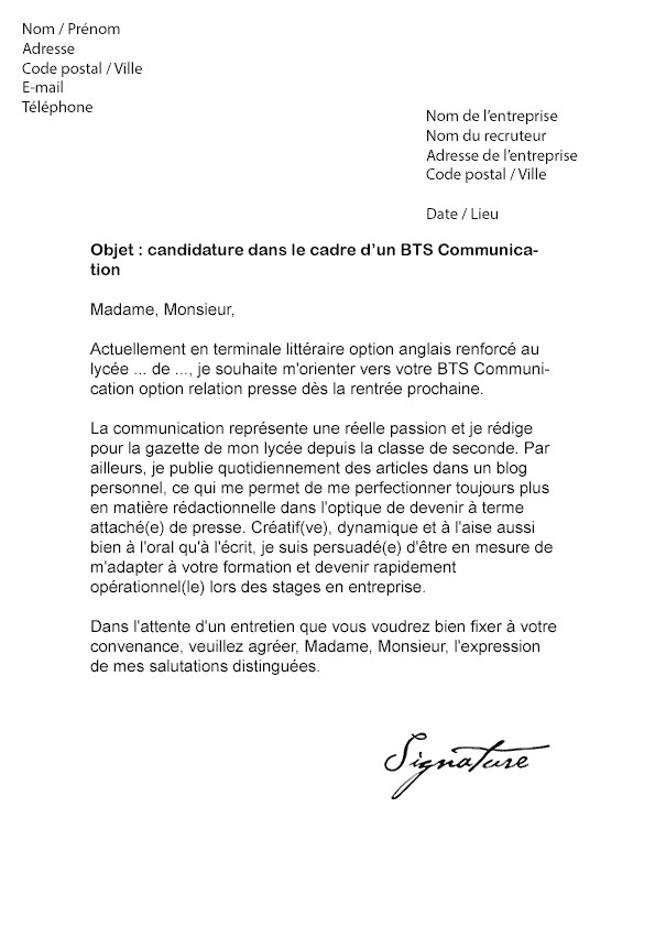 lettre de motivation originale stage communication