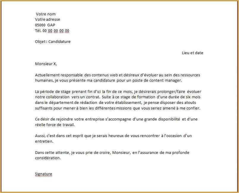 faire une lettre de motivation stage