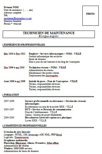 lettre de motivation technicien fibre optique