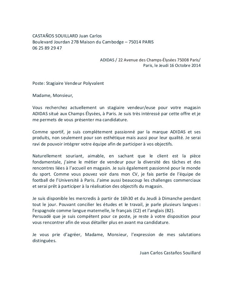 lettre de motivation pour un magasin de sport
