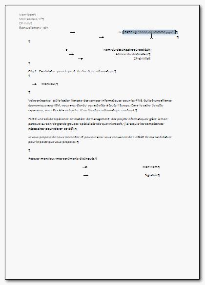 Lettre de motivation pour informatique