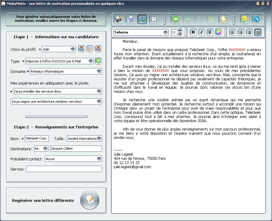 lettre de motivation par email