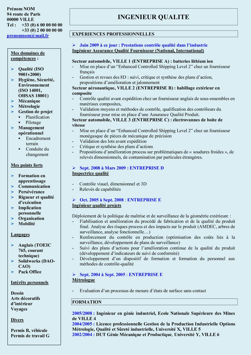 Exemple de cv europass ingenieur