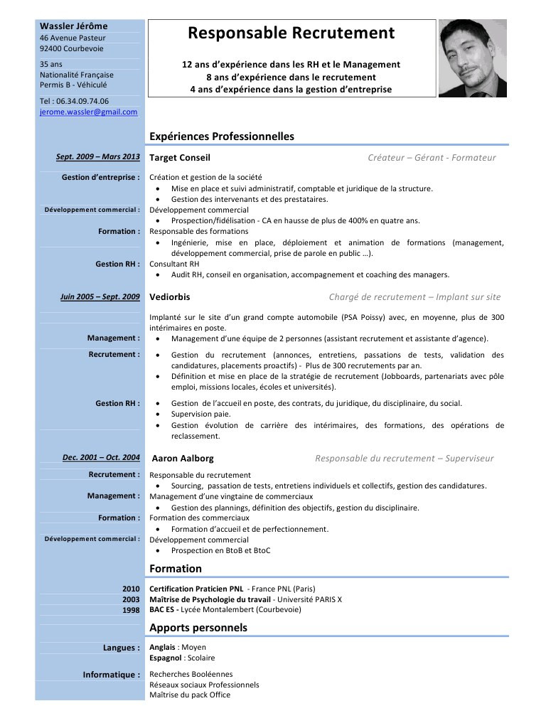 exemple de cv commercial pdf