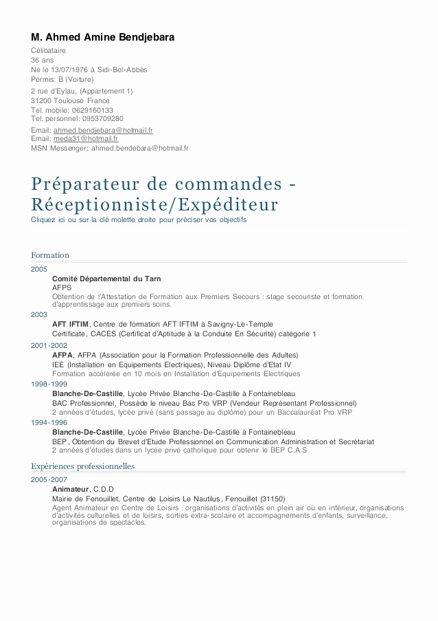 exemple cv preparatrice de commande