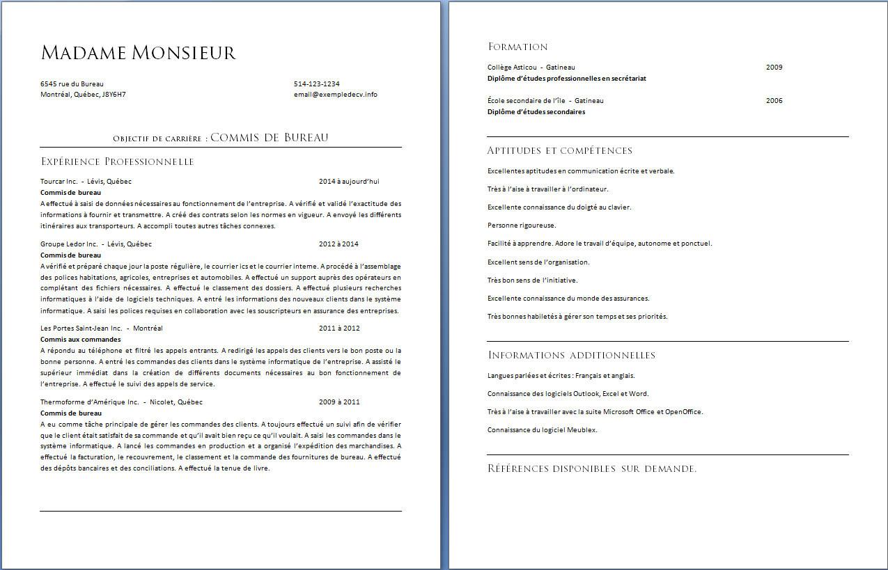 exemple de cv europass agent administratif