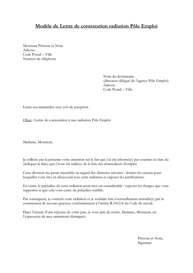 lettre de motivation pole emploi