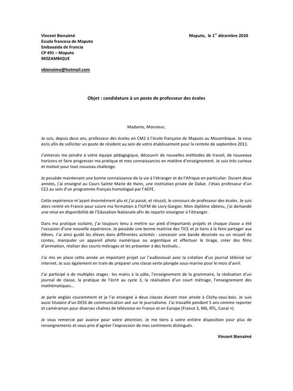 lettre de motivation ecole primaire privee