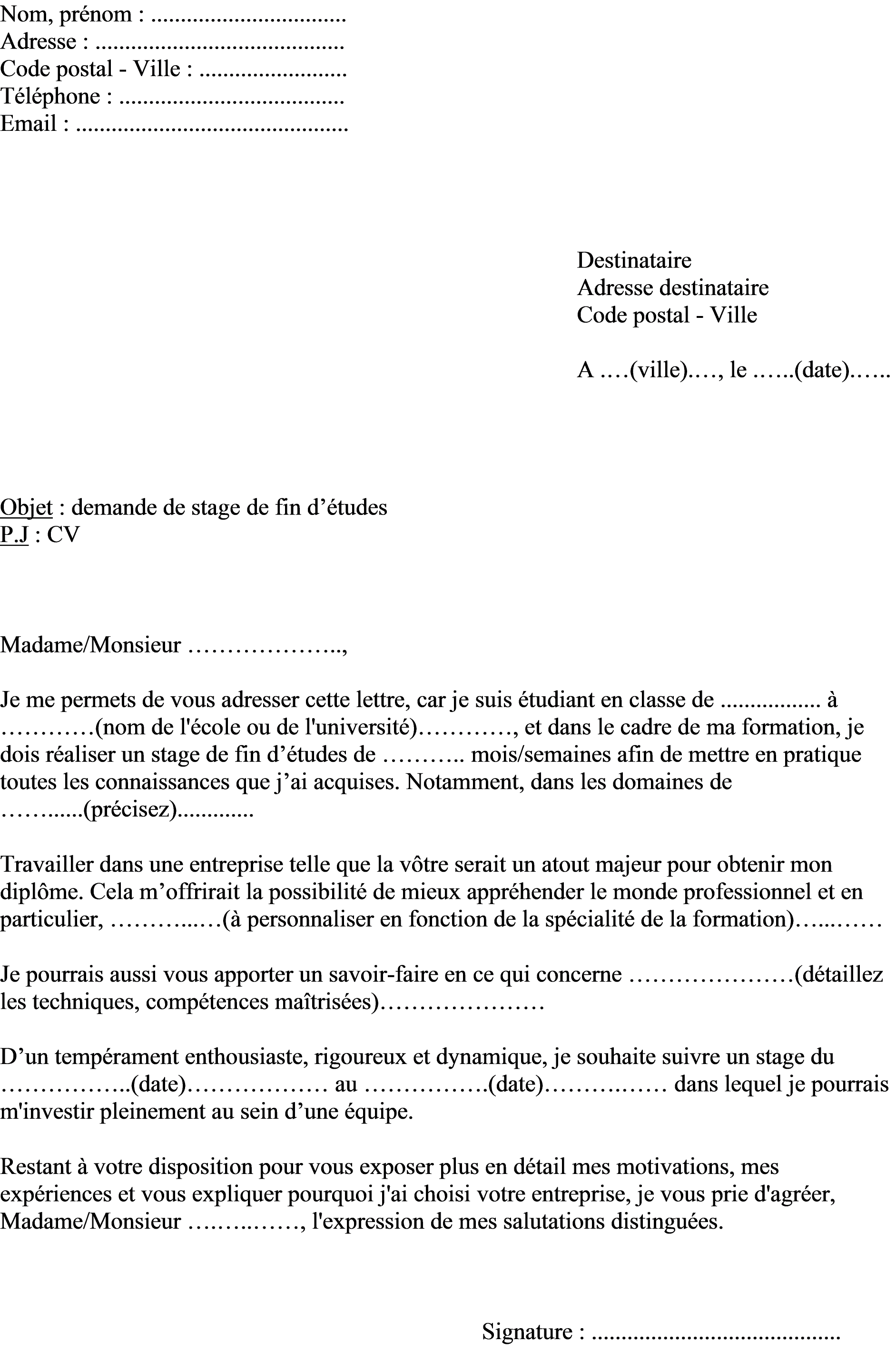 lettre de motivation fin d u0026 39  u00e9tude