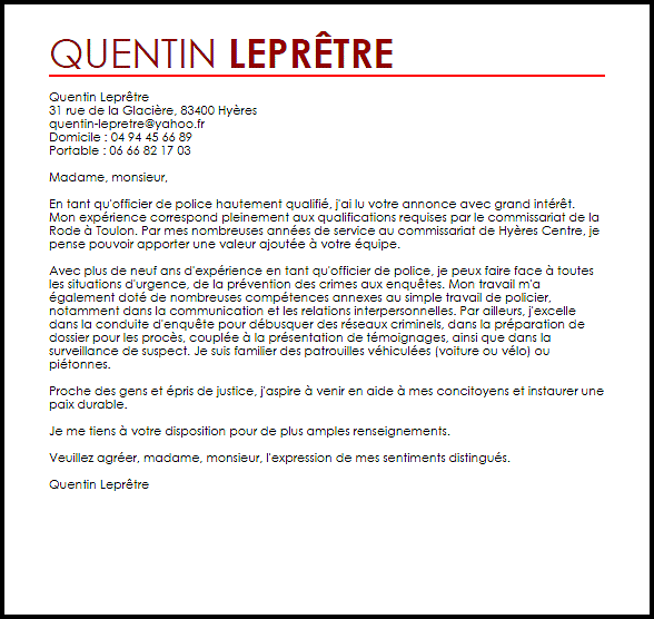 Lettre De Motivation Chef De Projet Informatique: Lettre De Motivation Police Nationale