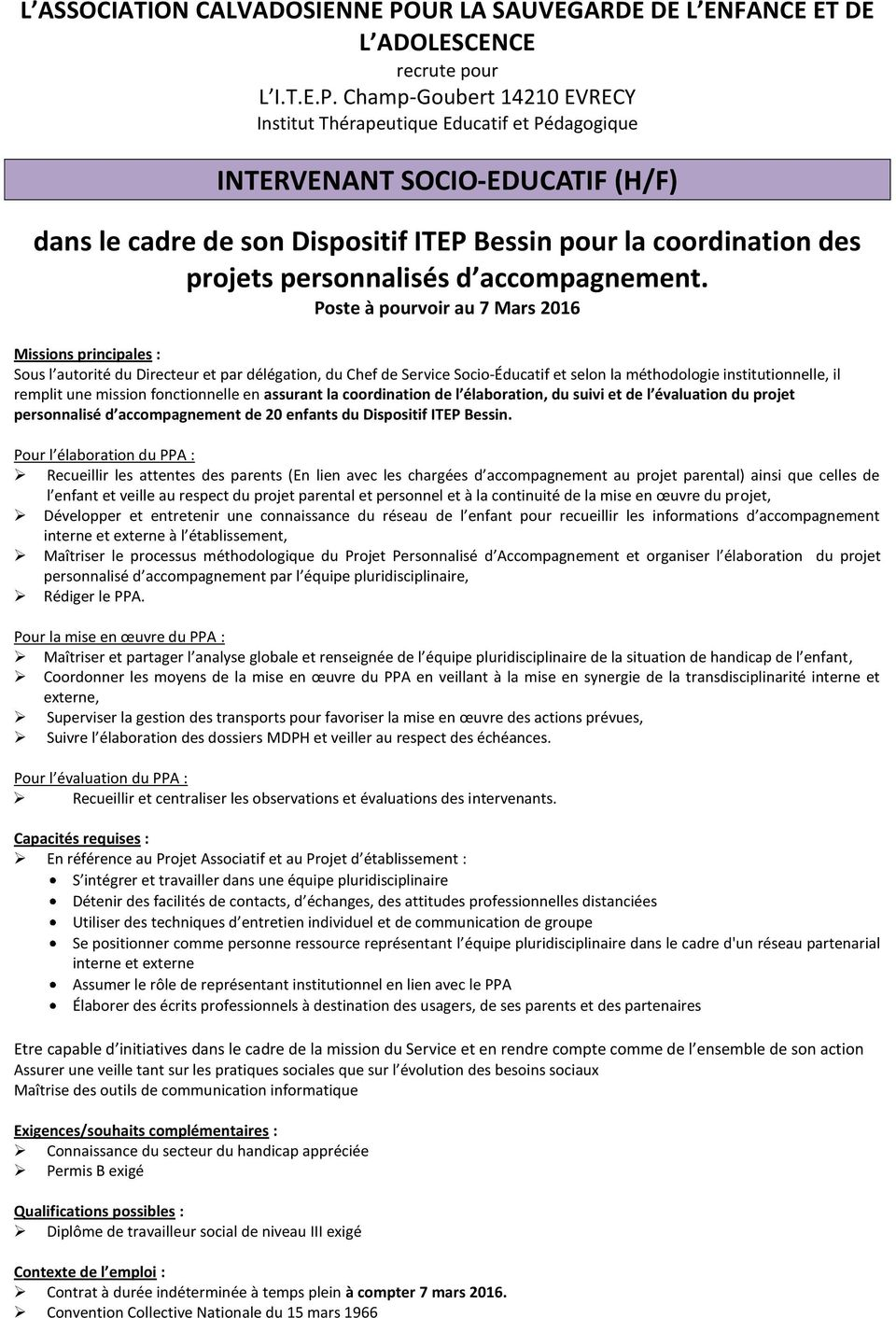 exemple de cv chef de service educatif