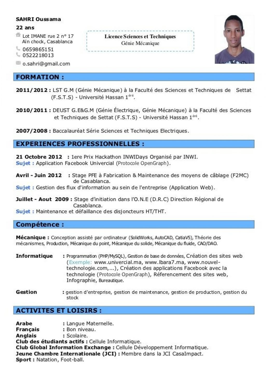 exemple de cv europass attractif