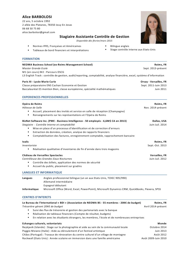 exemple de cv auditeur financier
