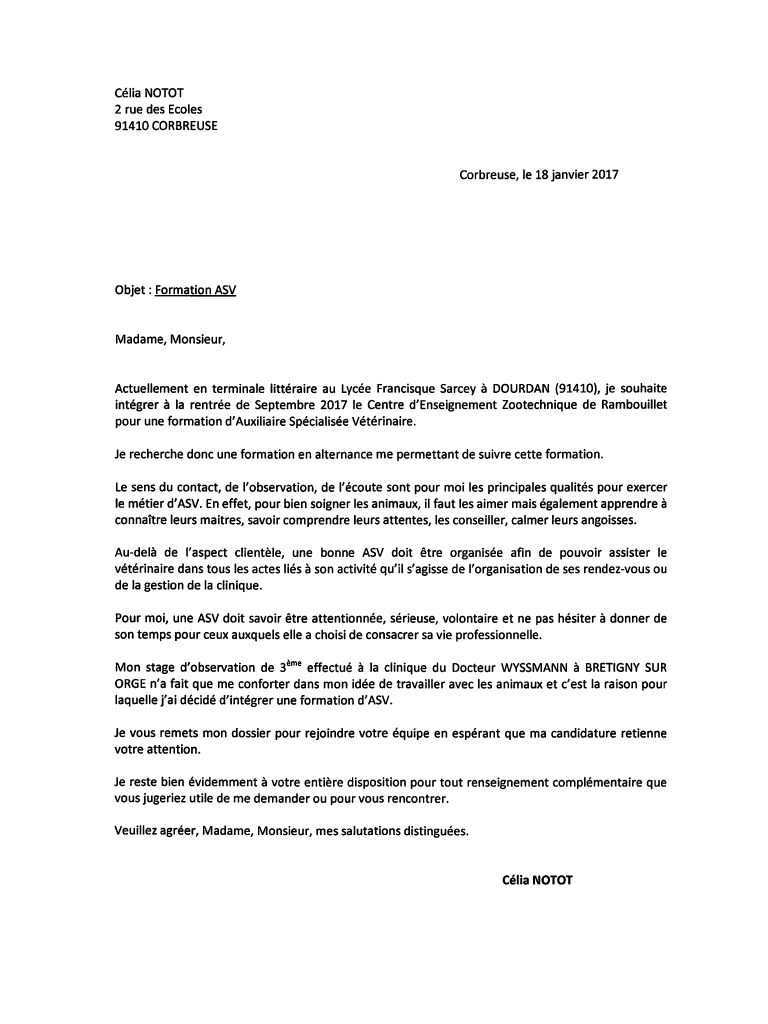 lettre de motivation pdf