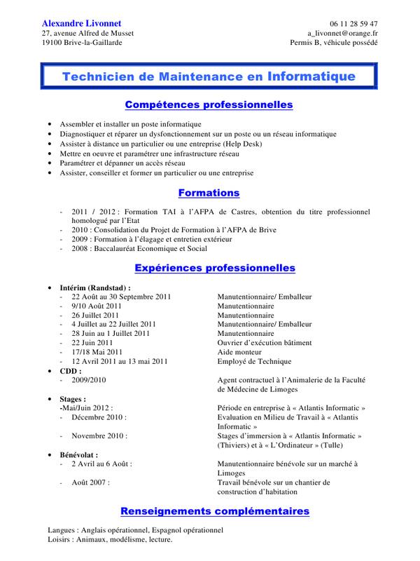 exemple de cv europass d u0026 39 un informaticien