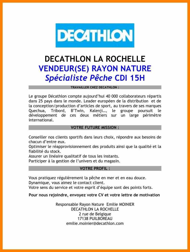 lettre de motivation stage decathlon