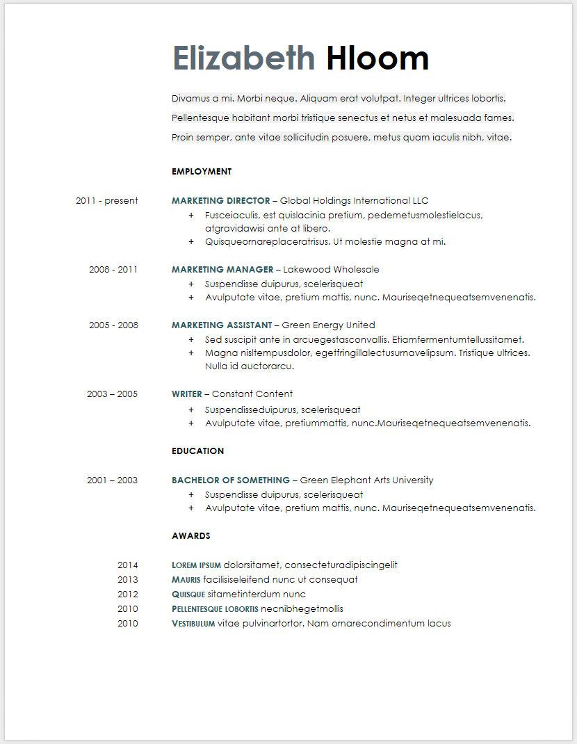 curriculum vitae google docs