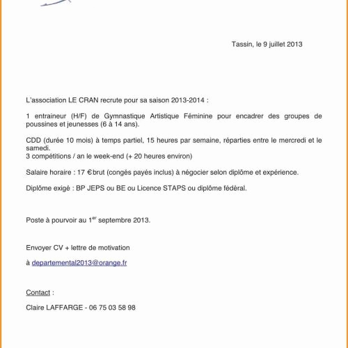 lettre de motivation pour dominos
