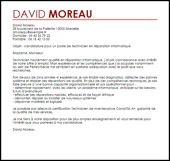 lettre de motivation mecanicien maintenance