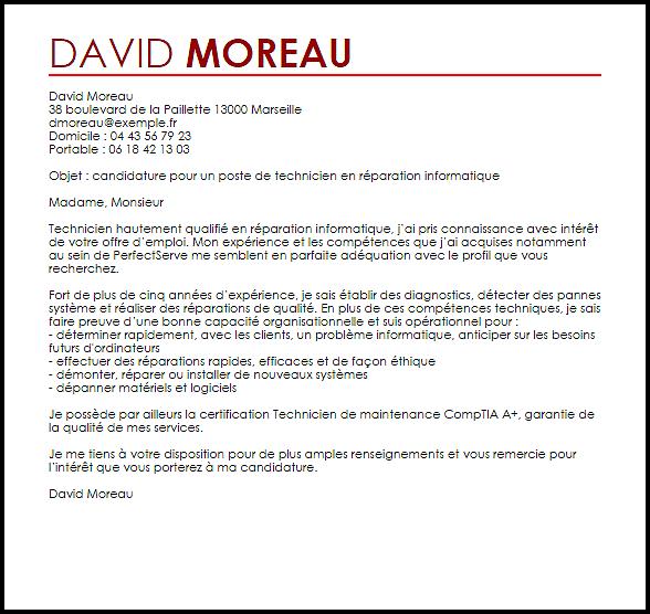 lettre de motivation mecanicien maintenance