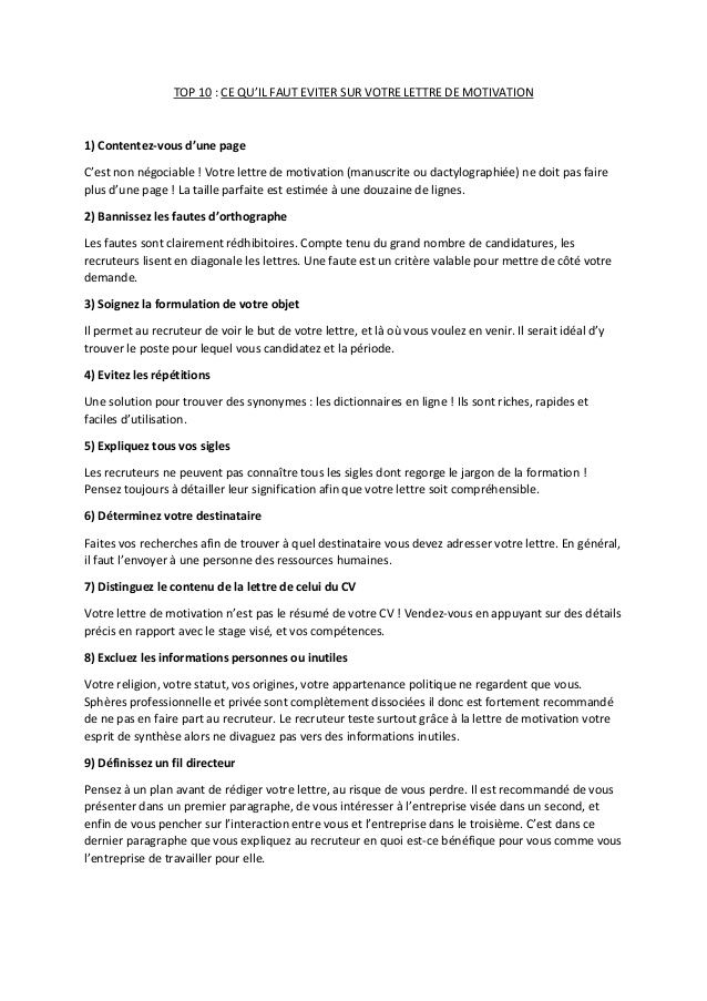 lettre de motivation dactylographi u00e9e
