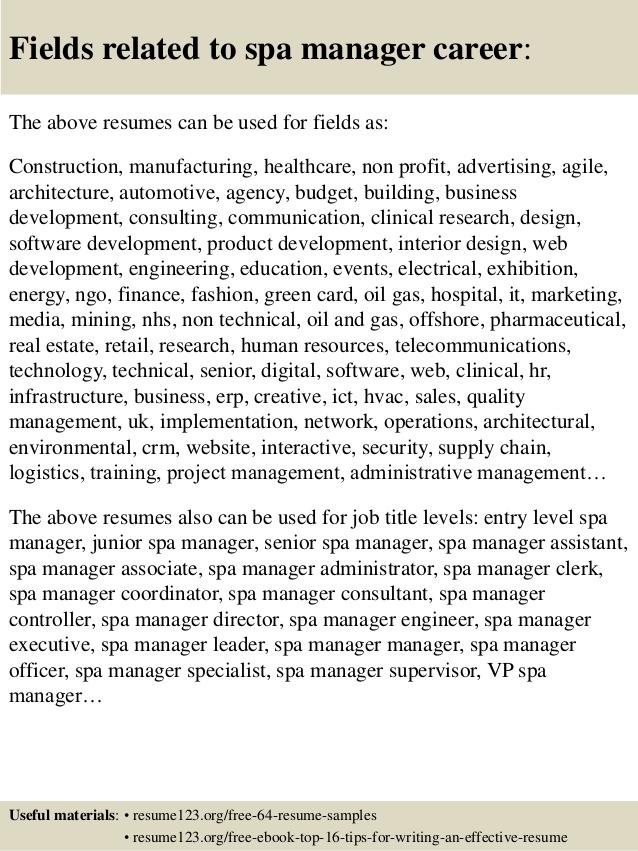 exemple de cv spa manager