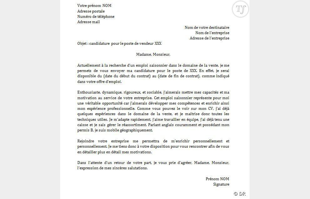 Lettre de motivation ehpad emploi saisonnier - laboite-cv.fr