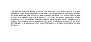 Lettre de motivation de master 2