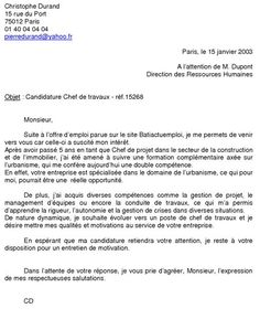 Exemple de lettre de motivation pour manaa