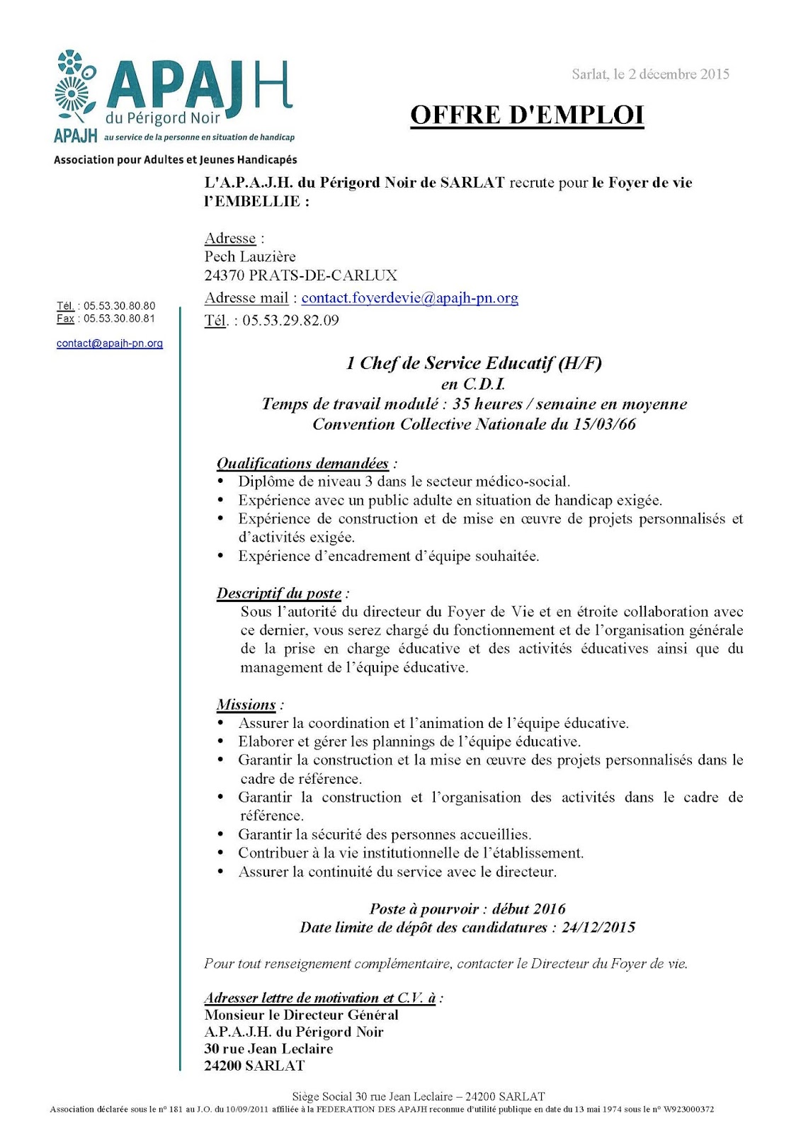chef de service  u00e9ducatif lettre de motivation