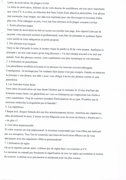 lettre de motivation stage cci