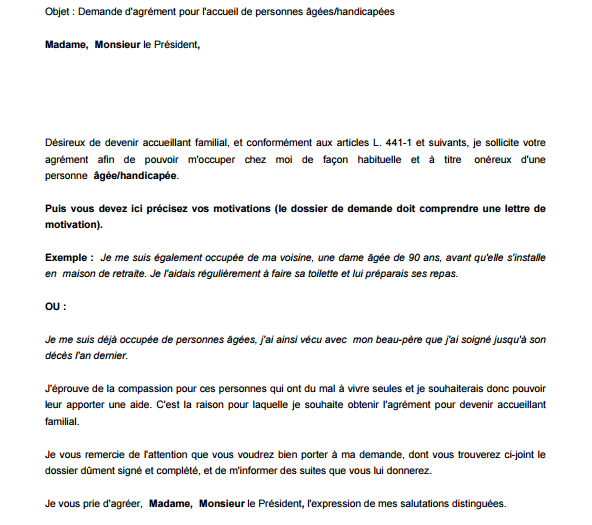 modele lettre de motivation pour assistant familial