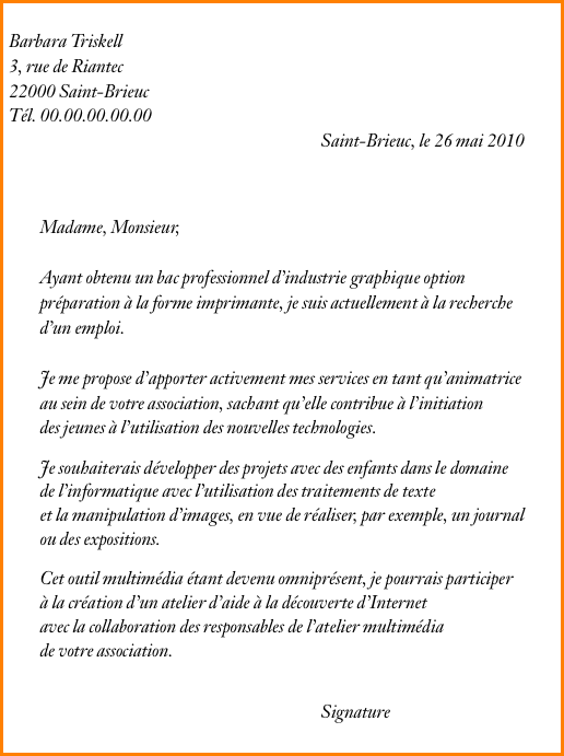 lettre de motivation job  u00e9tudiant magasin