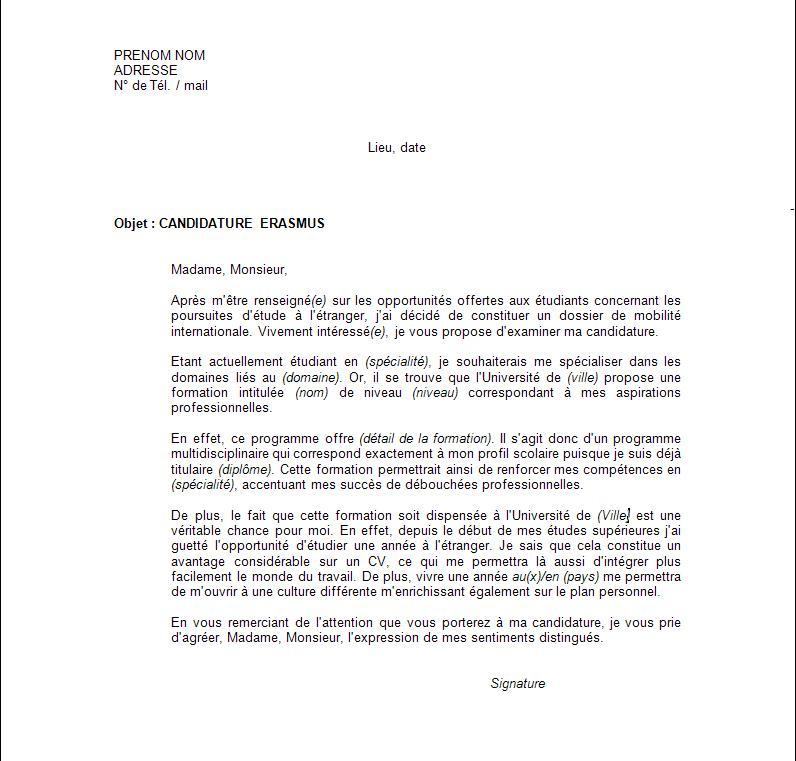 Exemple lettre de motivation échange à l'étranger