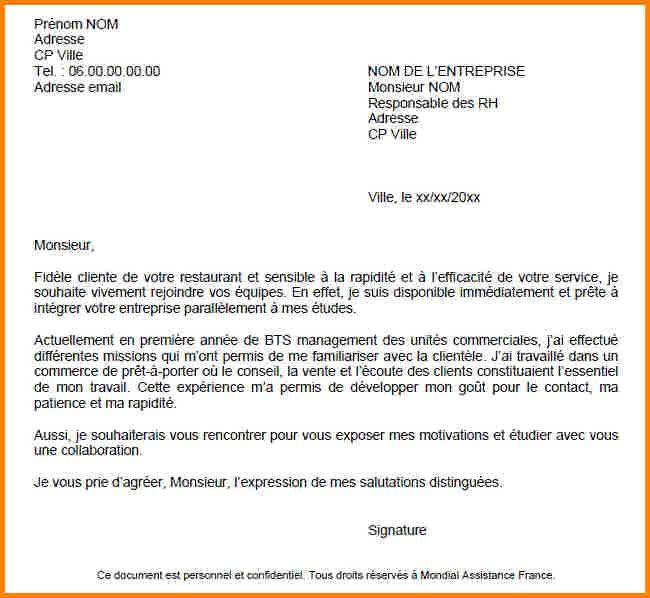 lettre de motivation job  u00e9tudiant macdonald