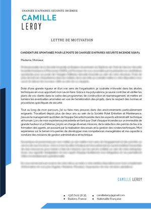 Lettre de motivation en bleu ou noir
