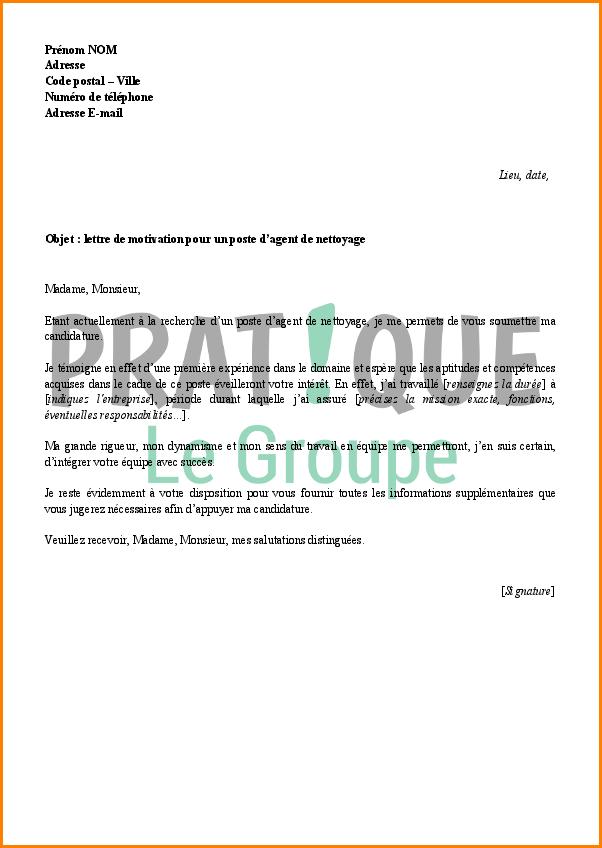 lettre de motivation agent d u0026 39 accueil et d u0026 39 entretien
