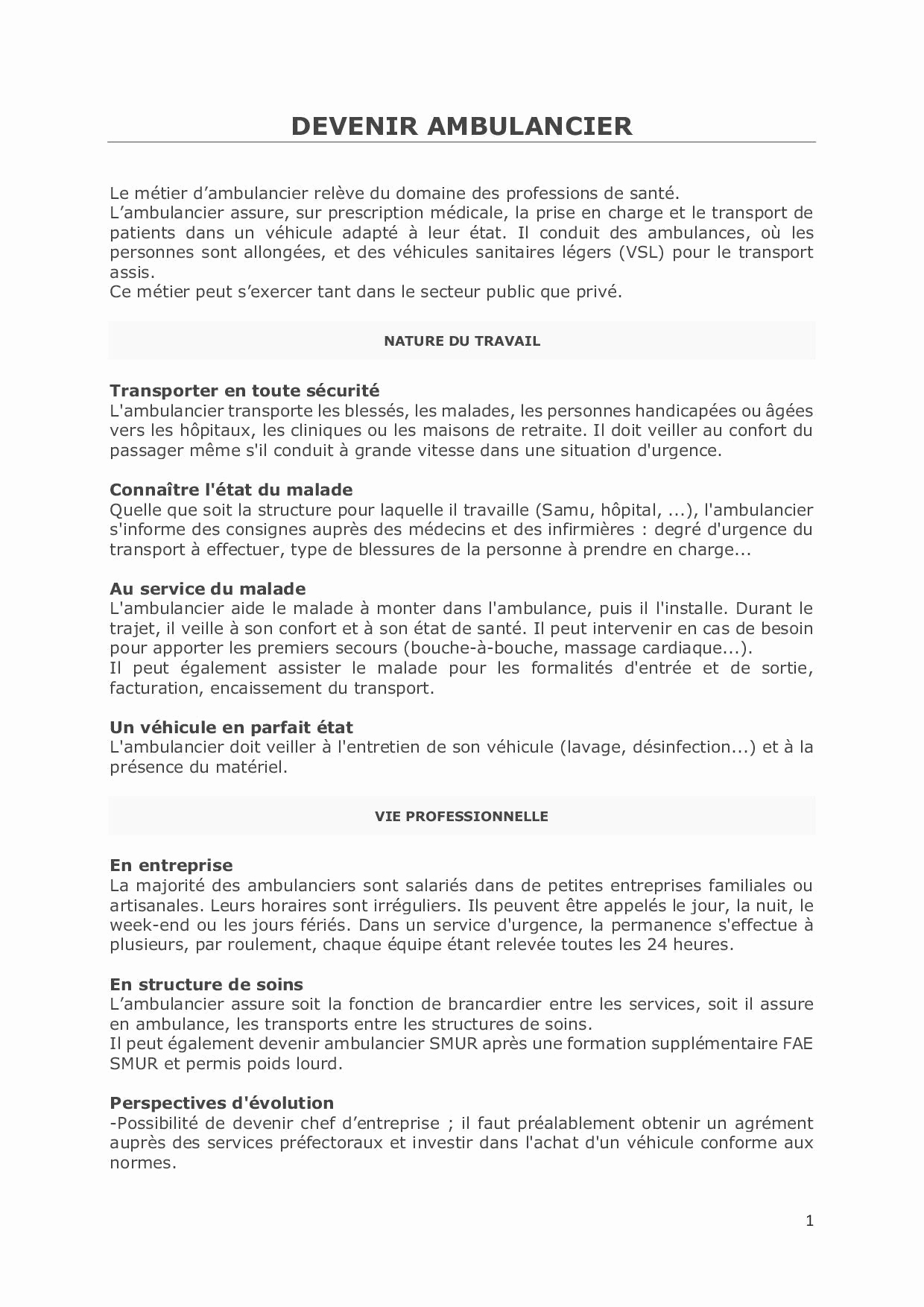lettre de motivation conducteur ambulancier