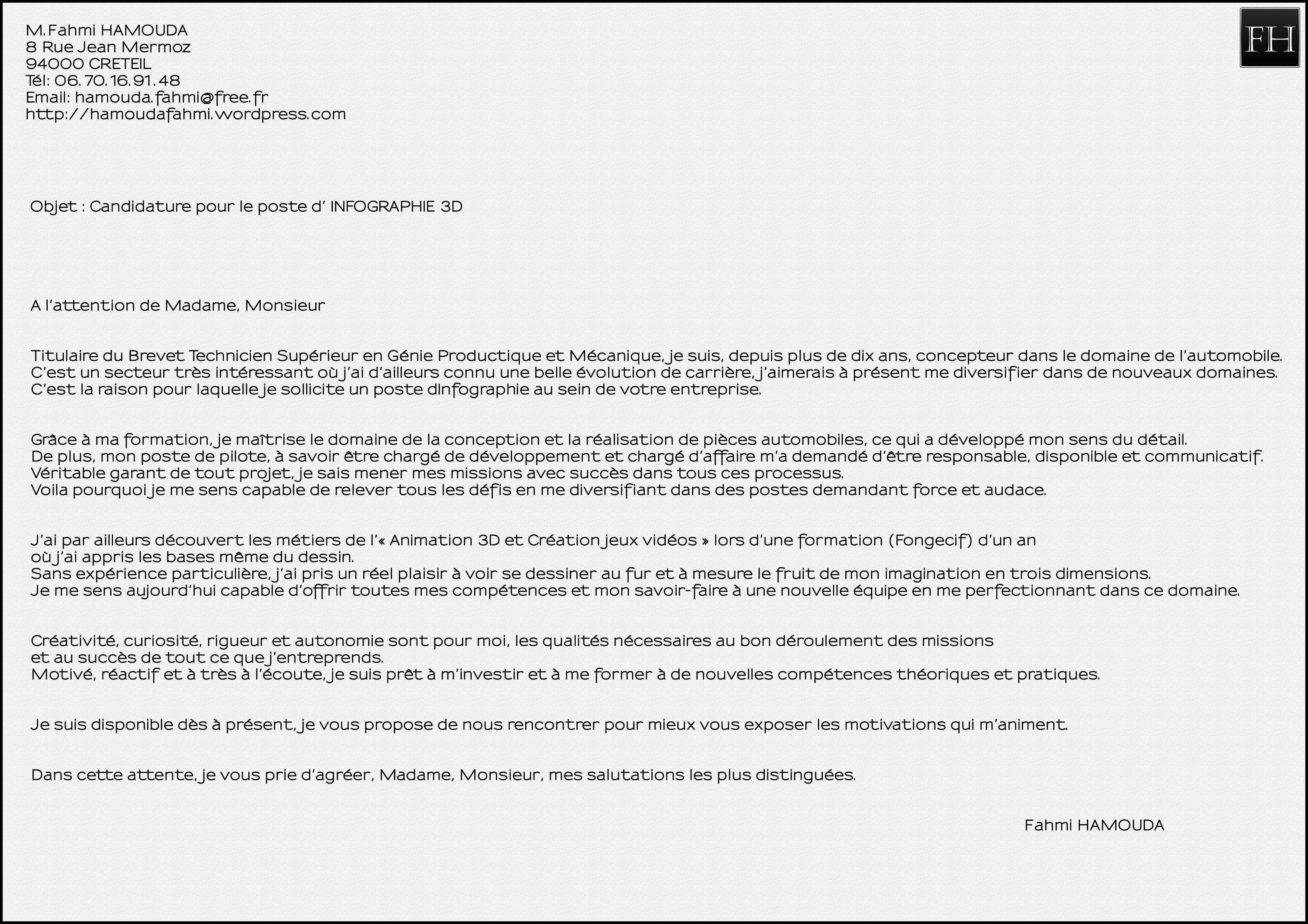 lettre de motivation pour bilan de competence