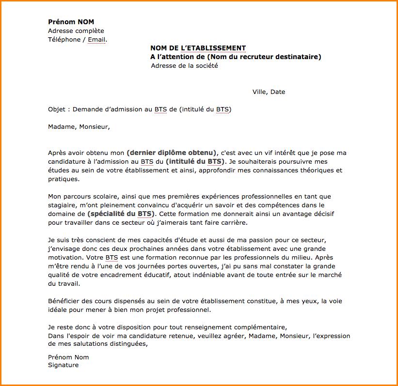 lettre de motivation pour  u00e9tablissement scolaire