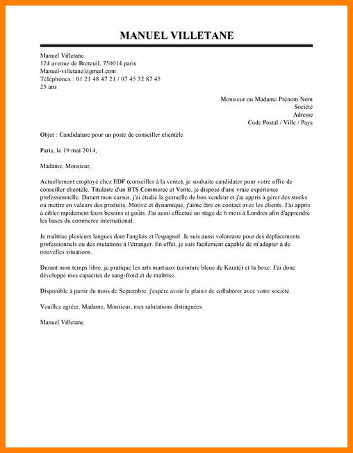 exemple lettre de motivation bts banque conseiller de
