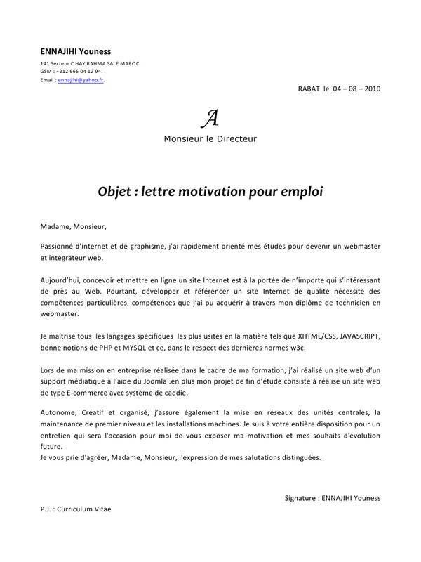 lettre de motivation de stage pdf